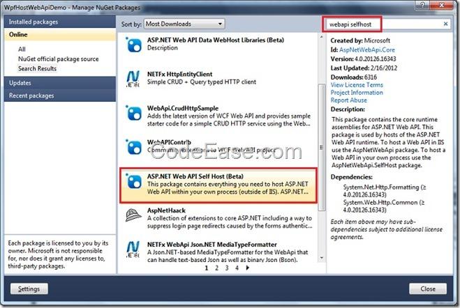 CodeEase com - Host ASP NET Web API In WPF Application