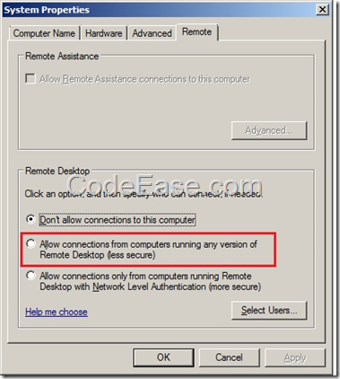 CodeEase com - How to Remote Access to Windows Server 2008 R2